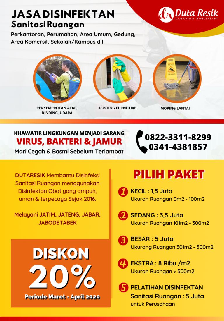 Jasa Disinfektan Sanitasi Ruangan Jatim Jabar Jateng Jabodetabek