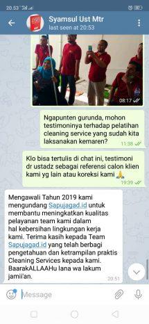 testimoni training cleaning service Masyarakattanpariba
