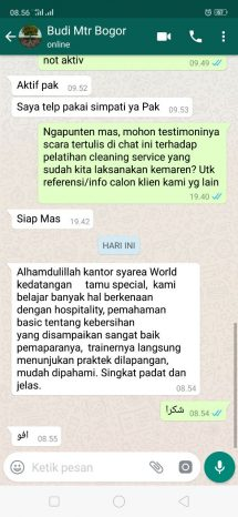 testimoni training cleaning service Mtr Bogor